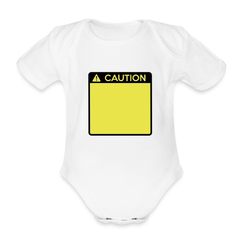 Caution Sign (2 colour) - Organic Short-sleeved Baby Bodysuit