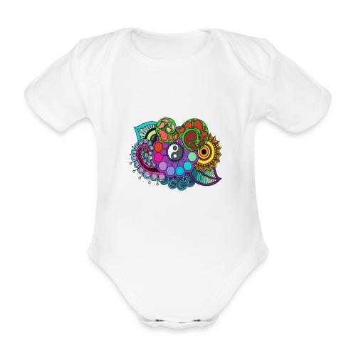 Coloured Nature Mandala - Organic Short-sleeved Baby Bodysuit