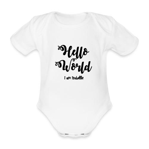 hello world new black design - Organic Short-sleeved Baby Bodysuit
