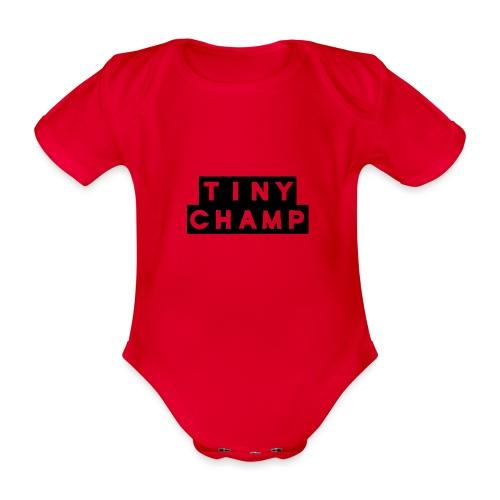tiny champ blocks - Organic Short-sleeved Baby Bodysuit