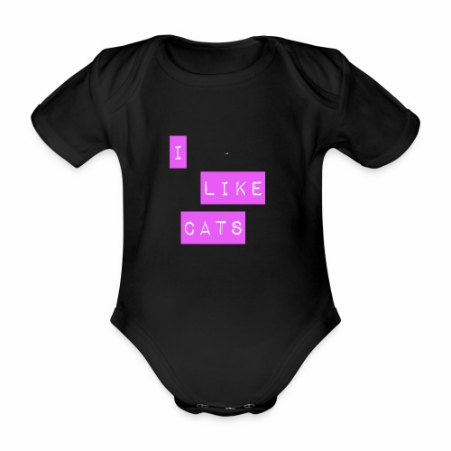 I like cats - Organic Short-sleeved Baby Bodysuit