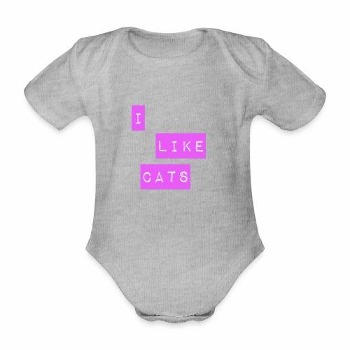 I like cats - Organic Short-sleeved Baby Bodysuit
