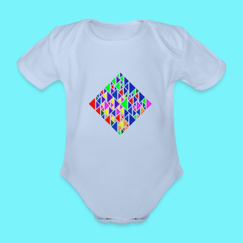 A square school of triangular coloured fish - Organic Short-sleeved Baby Bodysuit