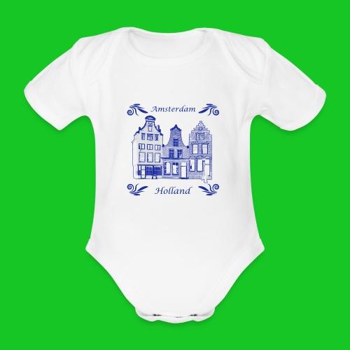 Holland Grachtenpanden Delfts Blauw - Baby bio-rompertje met korte mouwen