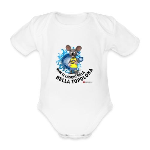 Bella Topolona testo Nero - Body ecologico per neonato a manica corta