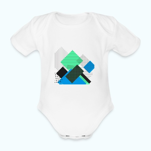 Abstract rectangles pastel - Organic Short-sleeved Baby Bodysuit