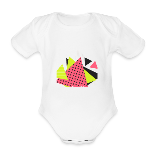 Neon geometry shapes - Organic Short-sleeved Baby Bodysuit