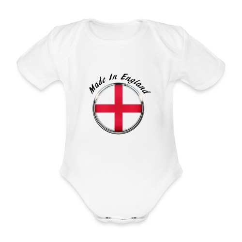 Made In England ( black text ) - Organic Short-sleeved Baby Bodysuit