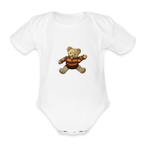 Teddybär - orange braun - Retro Vintage - Bär - Baby Bio-Kurzarm-Body