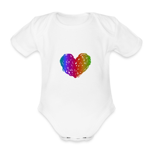 Coeur arc-en-ciel - Baby Bio-Kurzarm-Body