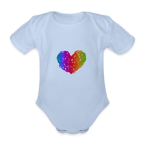 Coeur arc-en-ciel - Body Bébé bio manches courtes
