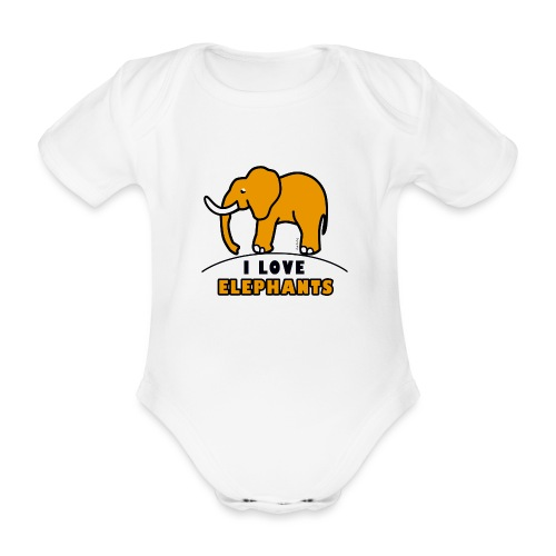 Elefant - I LOVE ELEPHANTS - Baby Bio-Kurzarm-Body
