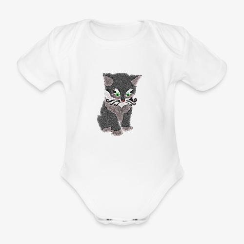 Kotek szary - Ekologiczne body niemowlęce z krótkim rękawem