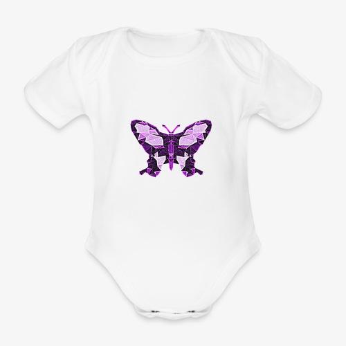 Fioletowy motyl - Ekologiczne body niemowlęce z krótkim rękawem