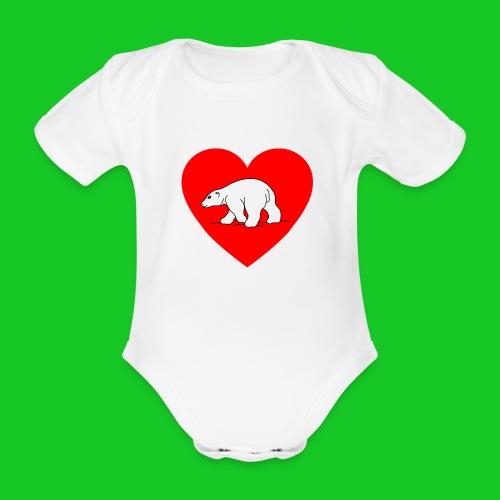 I Love ijsbeer - Baby bio-rompertje met korte mouwen