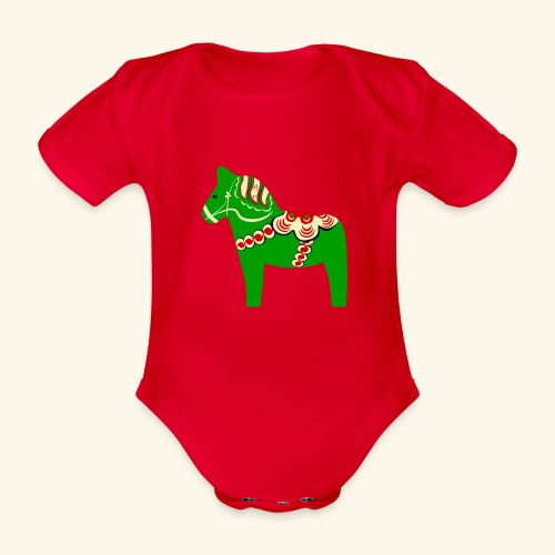 Grön dalahäst - Ekologisk kortärmad babybody