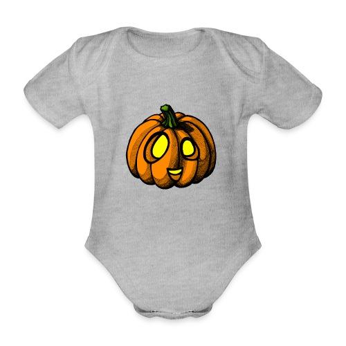 Pumpkin Halloween scribblesirii - Kortærmet babybody, økologisk bomuld