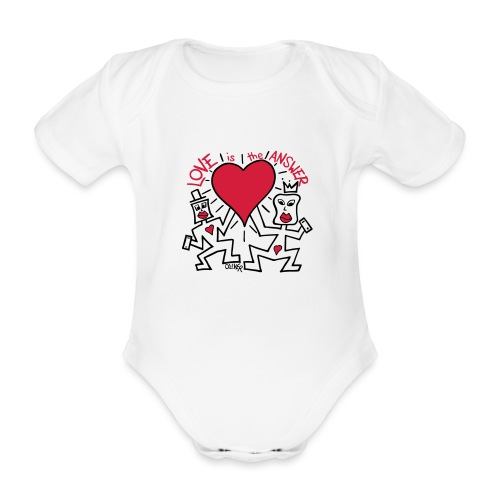Love is the Answer by Oliver Schibli - Organic Short-sleeved Baby Bodysuit