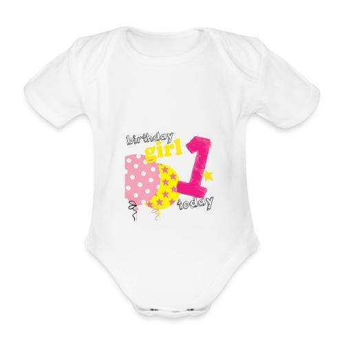 1 today birthday girl - Organic Short-sleeved Baby Bodysuit
