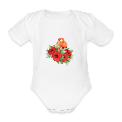 Fenicottero con ibisco - Body ecologico per neonato a manica corta