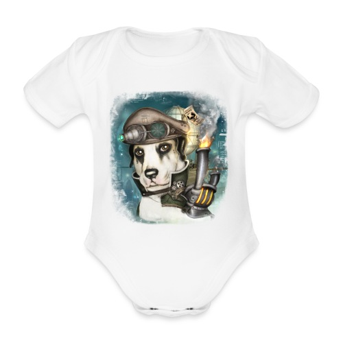 Steampunk Dog #2b - Body ecologico per neonato a manica corta