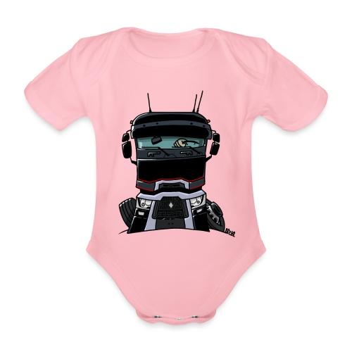 0813 R truck zwart - Baby bio-rompertje met korte mouwen
