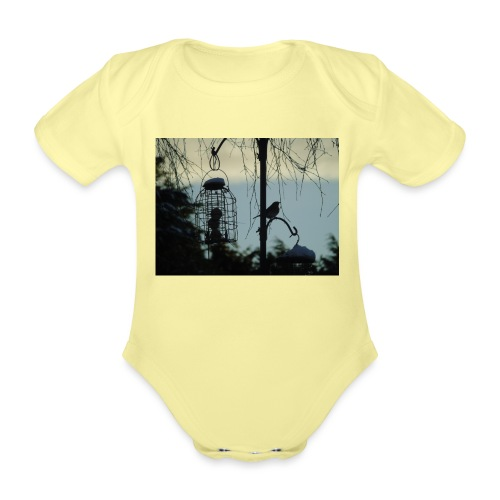 A winter bird - Organic Short-sleeved Baby Bodysuit