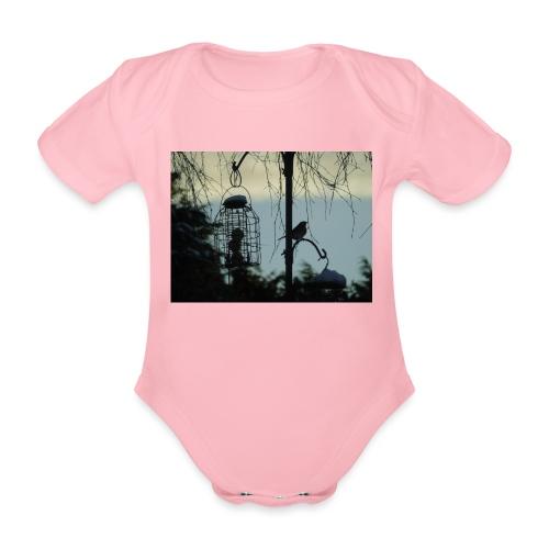 A winter bird - Organic Short-sleeved Baby Bodysuit