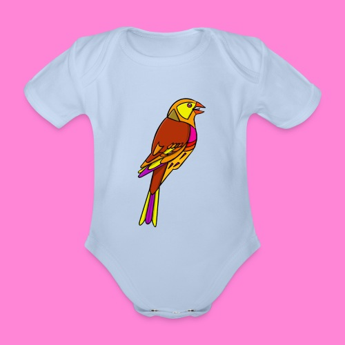 Geelgors illustratie - Baby bio-rompertje met korte mouwen