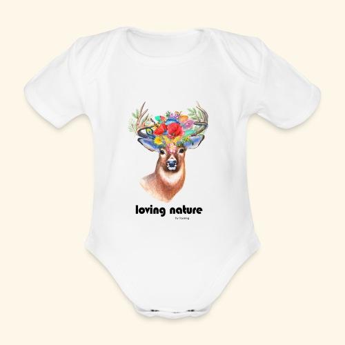 Ciervo con flores - Body orgánico de manga corta para bebé