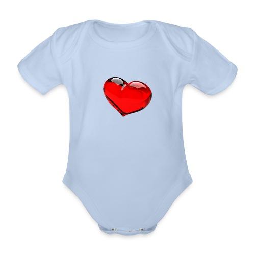 serce 3D - Ekologiczne body niemowlęce z krótkim rękawem