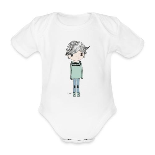 jongetje - Baby bio-rompertje met korte mouwen