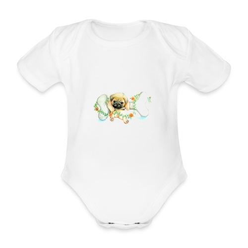 Mops knochen - Baby Bio-Kurzarm-Body
