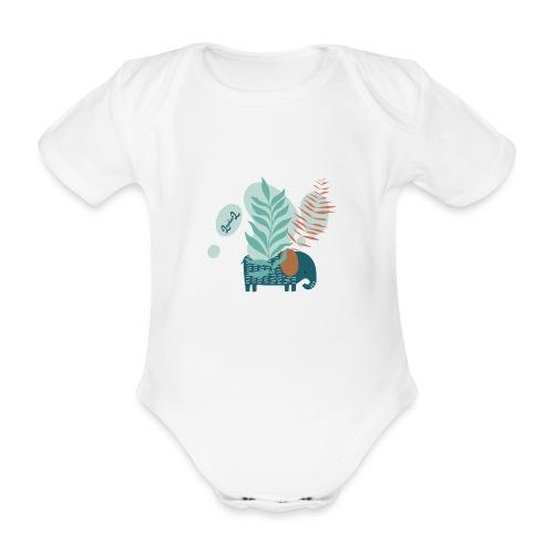elephant in savannah - Body ecologico per neonato a manica corta