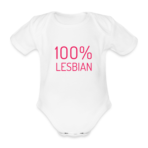 100% Lesbian in roze - Baby bio-rompertje met korte mouwen