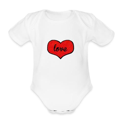 love heart - Organic Short-sleeved Baby Bodysuit
