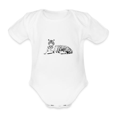 Weisser Tiger Shirt Geschenk - Baby Bio-Kurzarm-Body