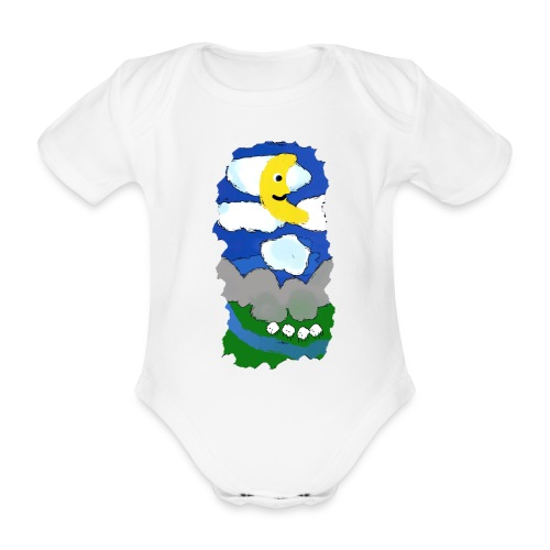 smiling moon and funny sheep - Organic Short-sleeved Baby Bodysuit