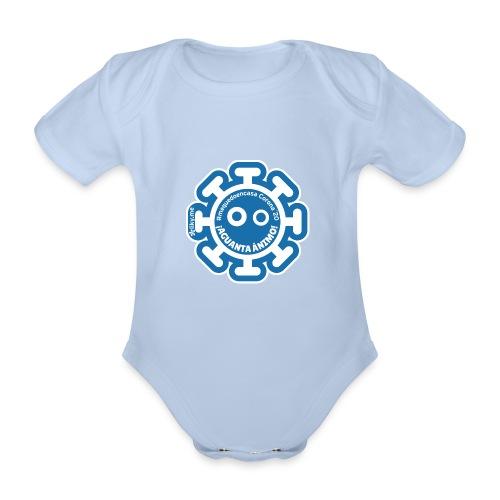Corona Virus #mequedoencasa blu - Body ecologico per neonato a manica corta