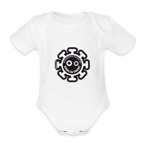 Corona Virus #stayathome nero - Body ecologico per neonato a manica corta