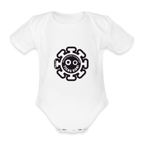 Corona Virus #restecheztoi noir - Body ecologico per neonato a manica corta