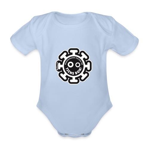 Corona Virus #restecheztoi noir - Body orgánico de manga corta para bebé