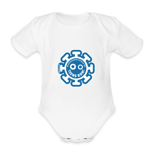 Corona Virus #restecheztoi bleu grigio - Body ecologico per neonato a manica corta