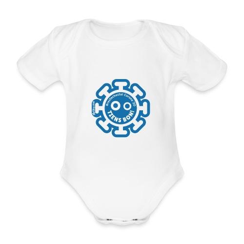 Corona Virus #restecheztoi gris bleu - Body orgánico de manga corta para bebé