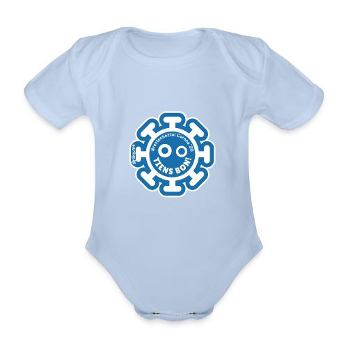 Corona Virus #restecheztoi gray bleu - Organic Short-sleeved Baby Bodysuit