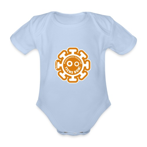 Corona Virus #restecheztoi arancione - Body ecologico per neonato a manica corta