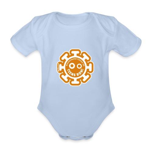 Corona Virus #restecheztoi orange - Organic Short-sleeved Baby Bodysuit