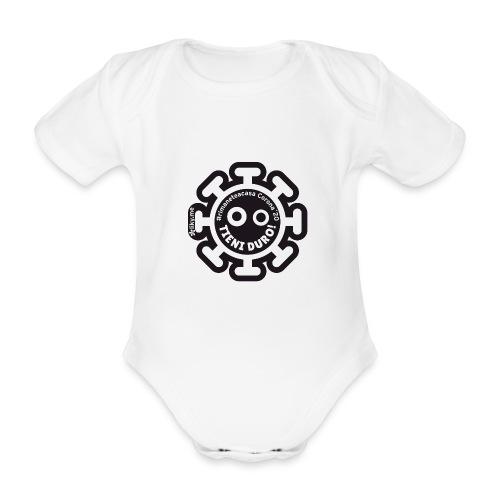 Corona Virus #rimaneteacasa nero - Body ecologico per neonato a manica corta