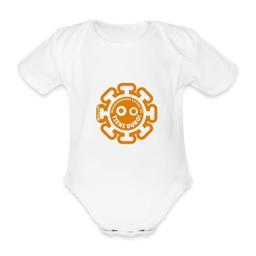 Corona Virus #rimaneteacasa arancione - Body ecologico per neonato a manica corta