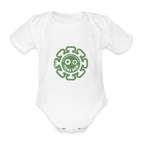 Corona Virus #restecheztoi vert - Body orgánico de manga corta para bebé